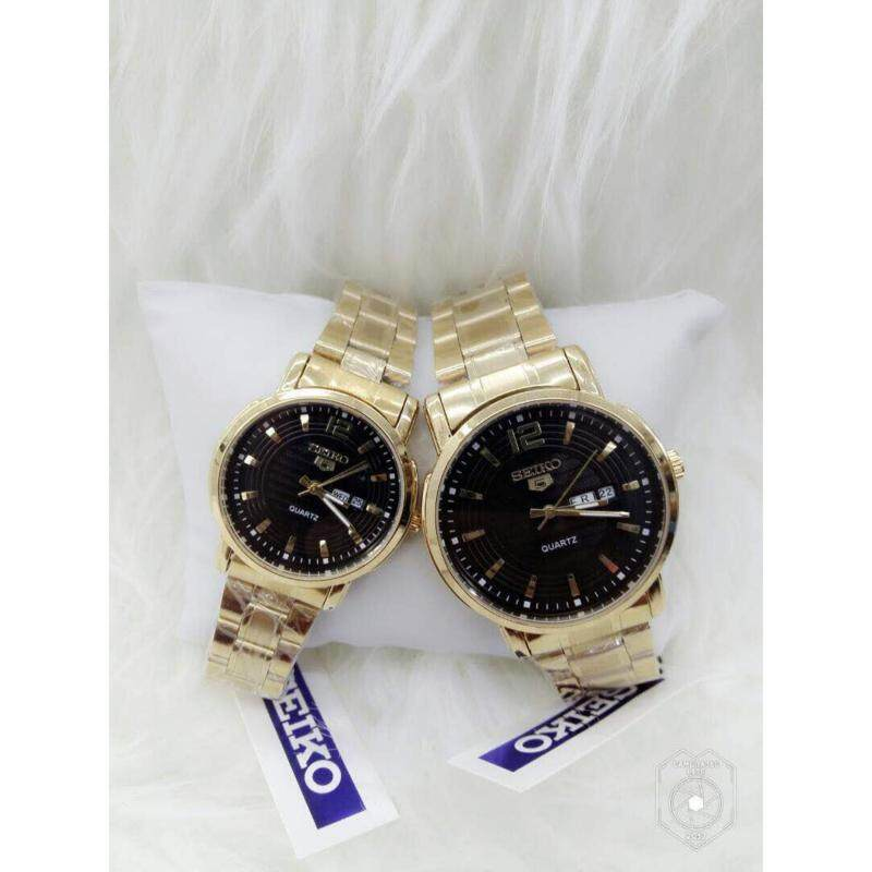 Couple Watch Gold Strap & Black Dial Set Malaysia