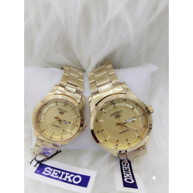 Couple Watch Seiko 5 Gold Strap + Gold Dial Malaysia