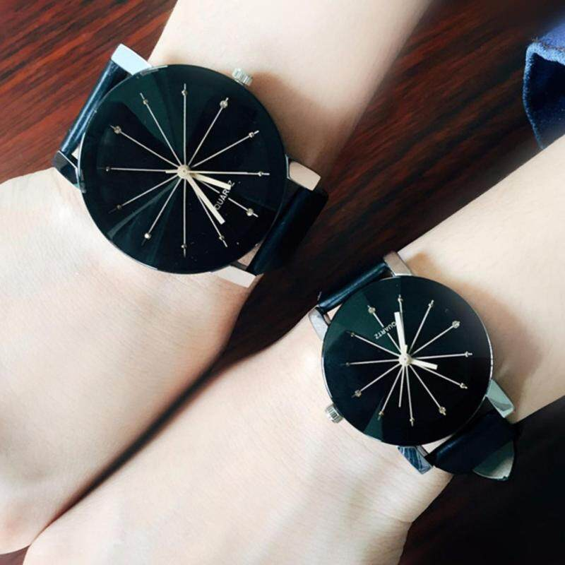 Couples PU Leather Watchband Couples Wrist Watch lovers watch - Intl Malaysia