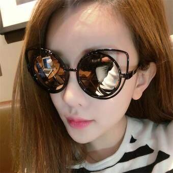 CRUOXIBB Cat Eyes Women Sunglasses Hollow Frame Curving LegsCoating Mirror Brand Designer Sun Glasses(Pink) - 2