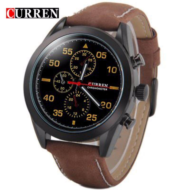 Curren 8156 Mens Brown Leather Strap Black Face Watch - Black Brown Malaysia