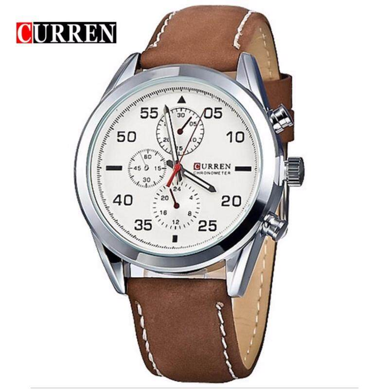 Curren 8156 Mens Brown Leather Strap White Face Watch - Brown and White Malaysia
