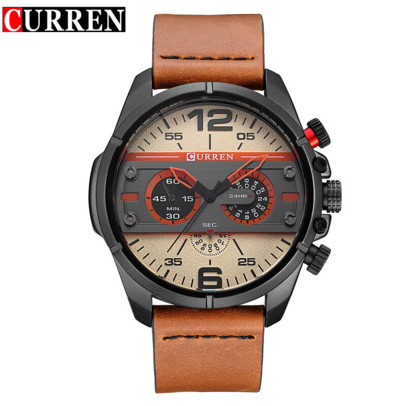 Curren 8259 Mens Sport Watch Top Brand Luxury Quartz Wrist Watch Casual Watches D Water Mens Military Watches Mens Watches - Coffee + Black + Beige Malaysia