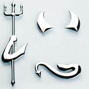 Cute PVC 3D Devil Style silver Demon car stickers and decals autobadge emblem Logo decor car decoration accessories - 2