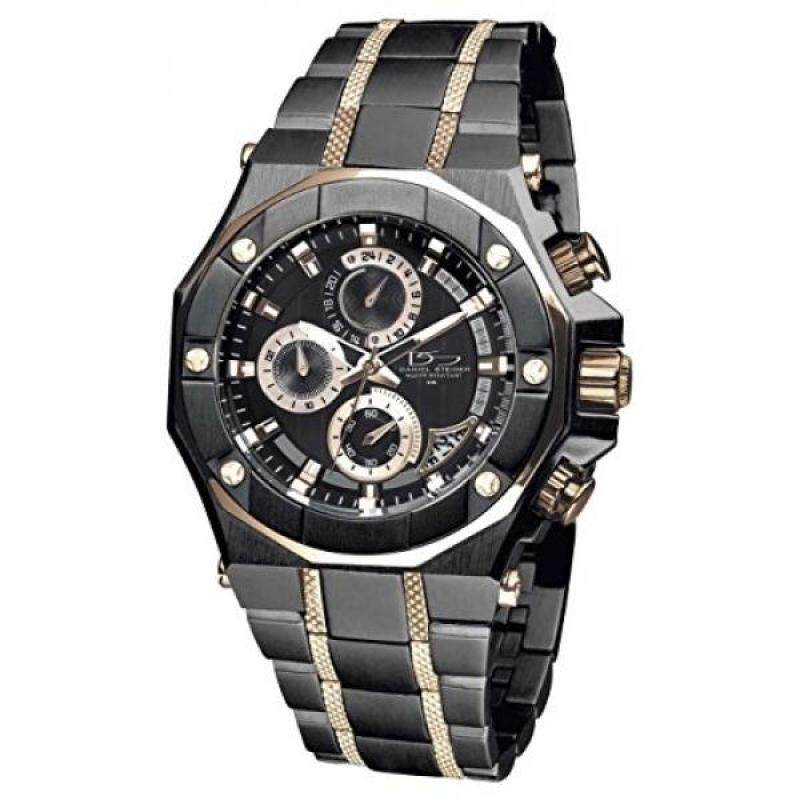 Daniel Steiger Phantom RX Black & Rose Gold Luxury Mens Chronograph Watch - Premium Grade Stainless Steel - 50M Water Resistant - Chronograph Movement With Date Calendar - Multi-Layered Dial Malaysia