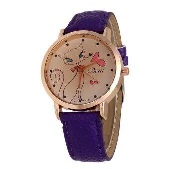 Harga (dark blue)Beautiful Gift 1PC Fashion Women Cute Cat Watch LadiesFaux Leather Analog Quartz Casual Wrist Watch