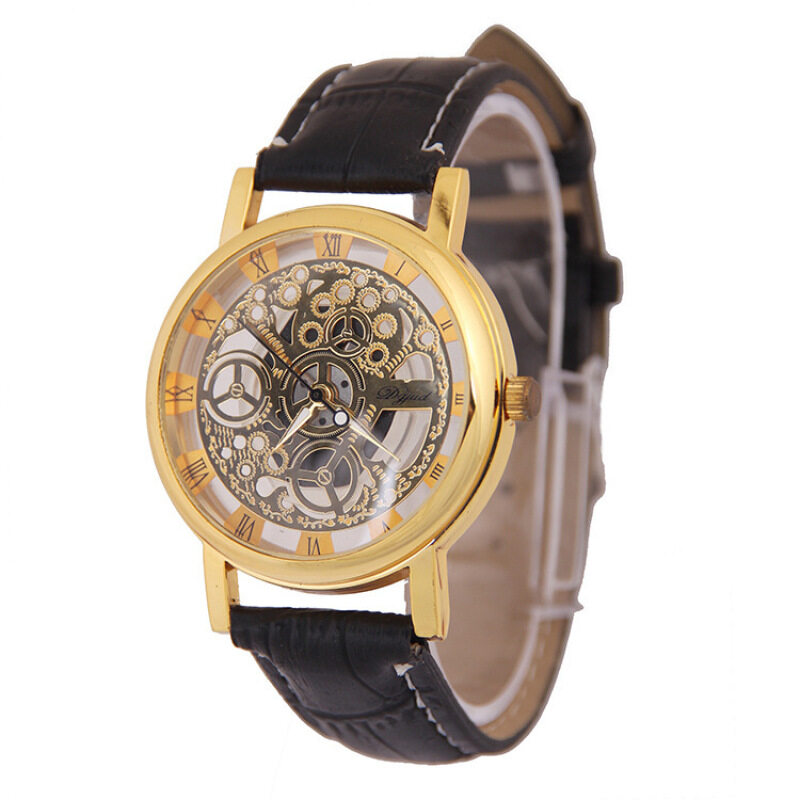 Dgjud ZL205 Hollow Leather Belt Quartz Watch- Gold with Black Strap Malaysia