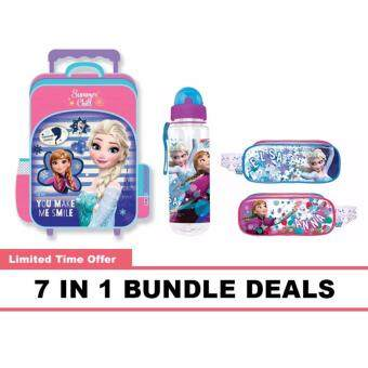Disney Princess Frozen School Trolley Bag, Water Bottle, Pencil Bag, Stationery 7 In 1 Bundle Deals