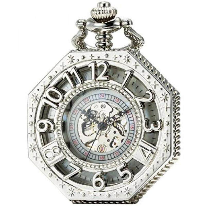 [DNKR]SEWOR Octagon Skeleton Pocket Watch Halloween Style Steampunk Mechanical Hand Wind (Sliver) Malaysia