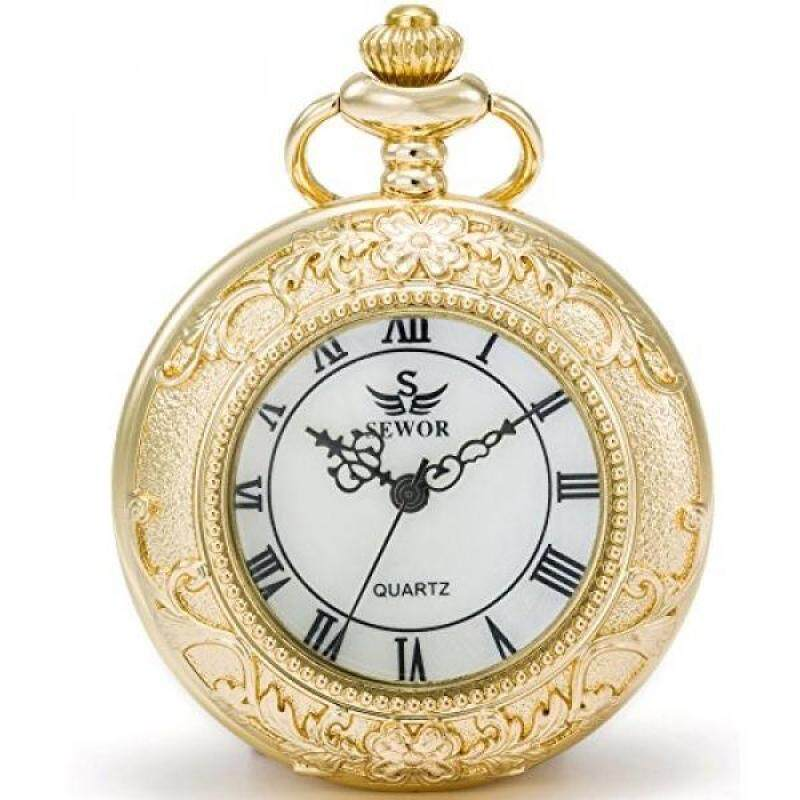 [DNKR]SEWOR Quartz Pocket Watch Shell Dial Magnifier Case With Two Type Chain (Leather+Metal) (Gold) Malaysia
