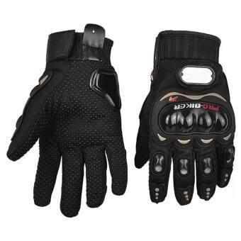 EcoSport Pro-Biker Carbon Fiber Bike Motorcycle Motorbike RacingGloves Full - Size M (Black)