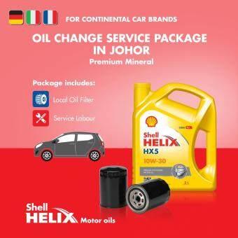 European Car - Premium Mineral Shell Helix HX5 SN 10W-30 (3L) Engine Oil Change Service Package (Johor)