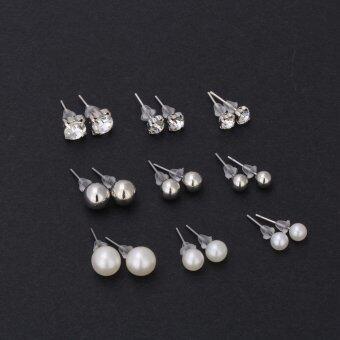 Fantastic Flower Crystal Stud Earrings Cute Ball Rhinestone Pearl Earring Set Pretty Jewelry Love Classics Earrings Retro Women -Silver - 2