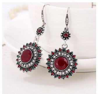 Fantastic Flower Drop Earrings Ethnic Vintage Sun Flower Bohemia Dangle Earrings Statement Women Jewelry -Red