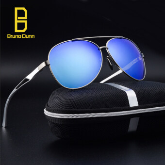 Fashion Brand Designer Aviator Retro Aluminum+TR90 +titanium Sunglasses Men Polarized Lens Vintage Eyewear Sun Glasses For Men XY013(gun frame blue mirror lense)