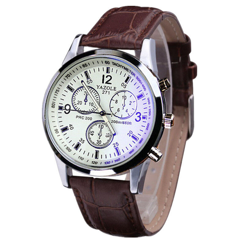Fashion Luxury Faux Leather Mens Blue Ray Glass Quartz Analog Watches (Brown) Malaysia