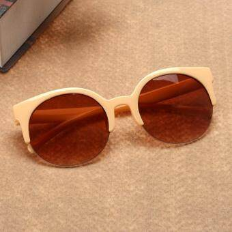 Fashion Plastic Trendy Hot Chic Half Frame Cat Eye RoundSunglasses(Not Specified) - 2
