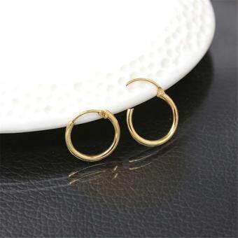 Fashion Sterling Silver Gold Endless Hoop Rings Lip Nose Ear StudsEarrings Gold 1.2*0.3cm - 2