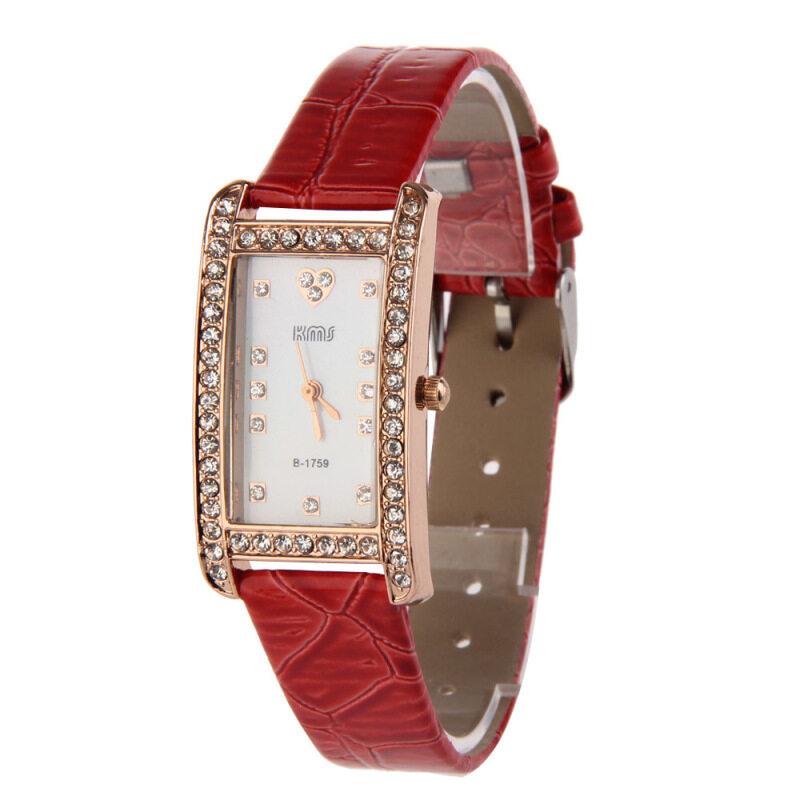 Fashion Women Bling Rhinestone PU Leather Strap Rectangle Wrist Watch Red Malaysia