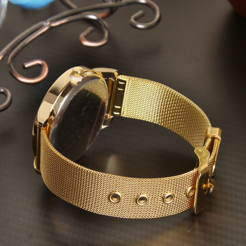 Fashion Women Golden Stainless Steel Watchband Analog Quartz Wrist Watch  Gold Malaysia