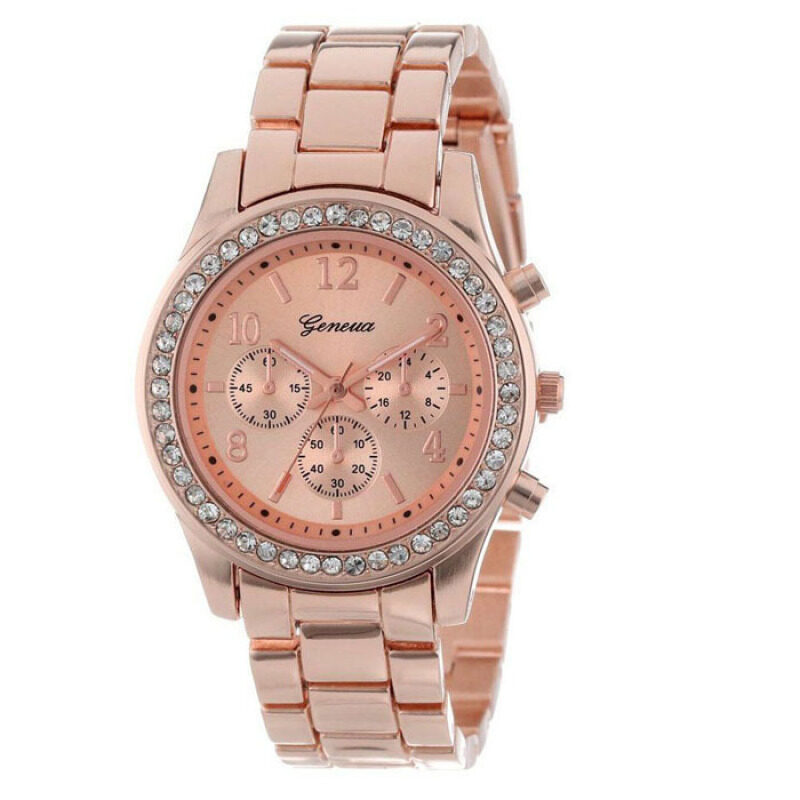 Faux Chronograph Quartz Classic Round Ladies Women Crystals Watch  (Rose Gold) Malaysia