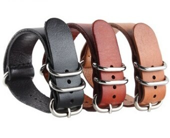 Harga Flaws goods 18| 20| 22| 24mm NATO models leather strap fashioncasual leather military watch strap
