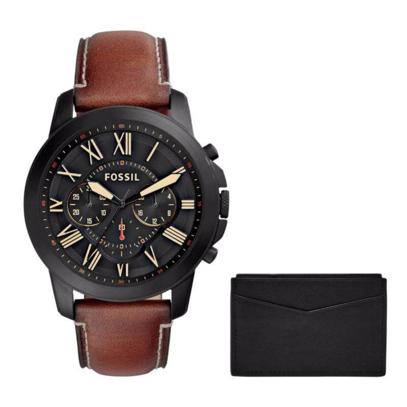 Fossil FS5335SET Mens Grant Chronograph Watch Leather Card Case Set Malaysia
