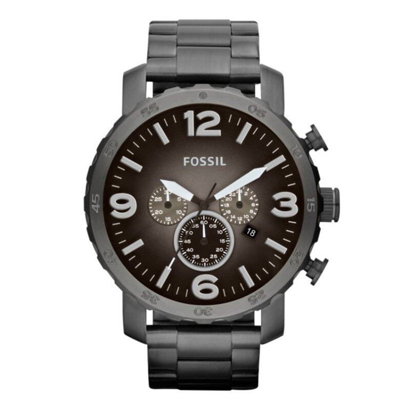 Fossil Men Nate Chronograph Smoke Stainless Steel Watch JR1437 Malaysia
