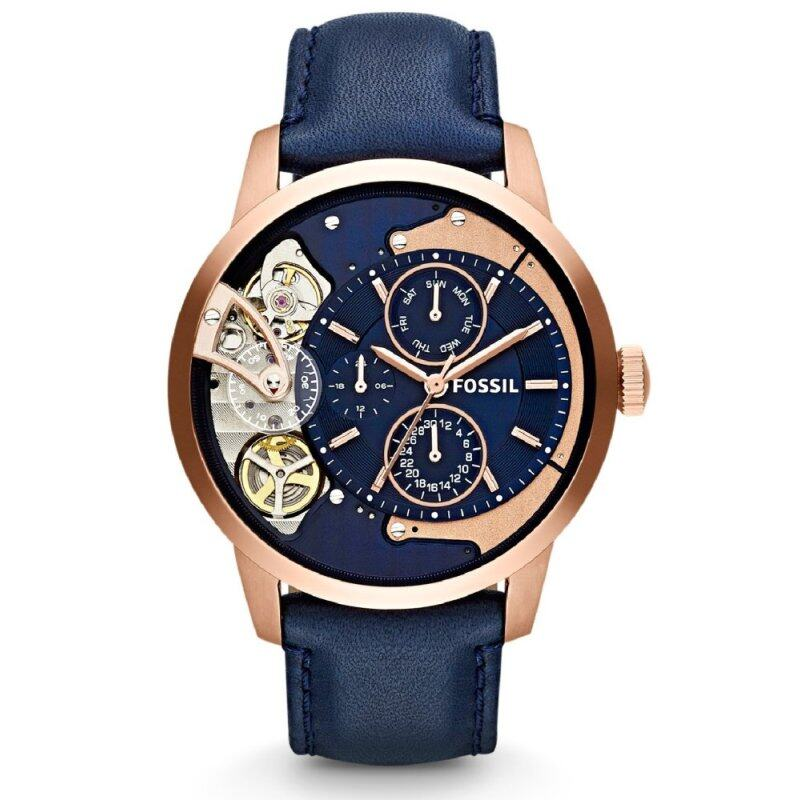 Fossil Mens Mechanical Townsman Multifunction Navy Leather Strap Watch ME1138 (Navy & Rose Gold) Malaysia
