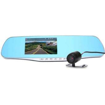 "(FREE RM50 VOUCHER) WJS Front And Rear Dash Cam 1080P Dual Lens Rear View Mirror Camera 4.3"" Screen Car Video Recorder With Parking Monitor"