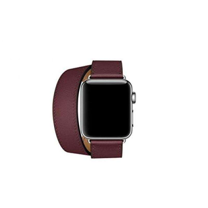 From USA CAILIN LEATHER Double Tour Apple Watch Band with Adapter Clasp,Wine red, 38mm Malaysia