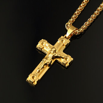 GAKTAI Iced Out JESUS CROSS Pendant Cuban Chain Necklace Hip HopJewelry Unisex Sweater Chain Gold Plated - 3
