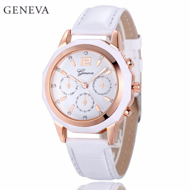 Geneva Dodecagonal 3 Dial Display Leather Wristwatch Fashion Womens Watch (Rosegold White) Malaysia