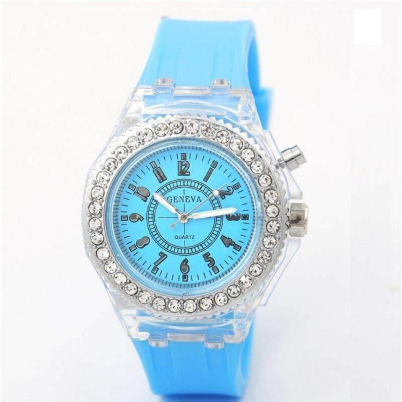 Geneva Ladies Rhinestone LED Big Dial Quartz Watch Luminous Fashion Wrist Watch (BLUE) Malaysia