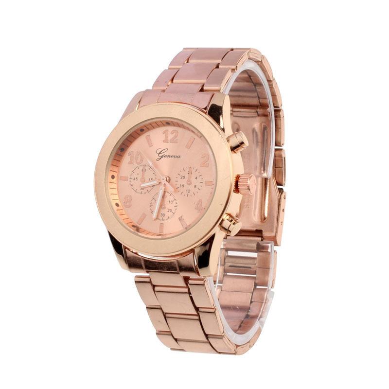 Geneva Lady Women Girl Unisex Stainless Steel Quartz Wrist Watch Rose Gold Malaysia