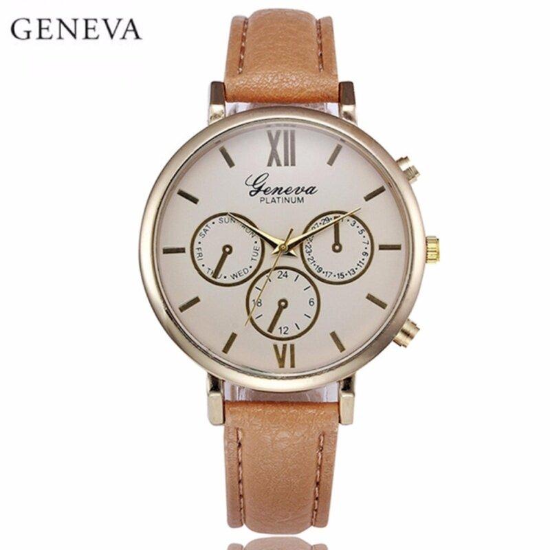 Geneva Simple 3 Dial Display Leather Wristwatch Fashion Womens Watch (Gold Brown) Malaysia