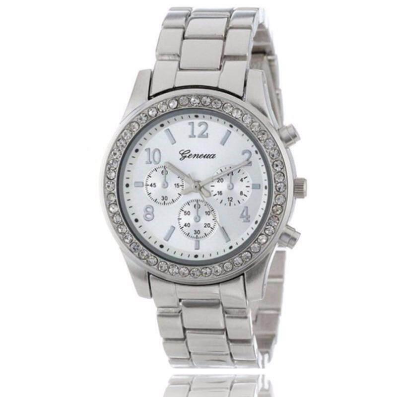 Geneva Steel Belt Elegant Quartz Watch Diamond Chronograph CRTWomens Watch- Silver Malaysia
