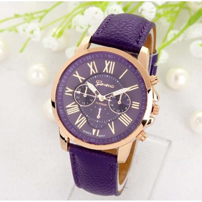 GENEVA Woman Doule Dials Roman Numerals Wristwatch Leather Quartz Women Watch Purple Malaysia
