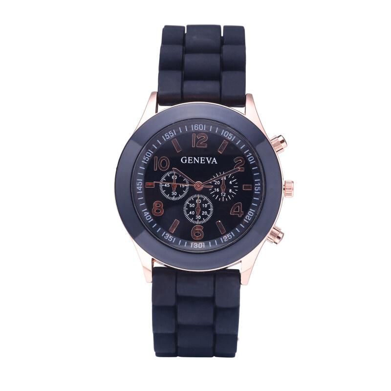 Geneva Women Dress Watch Quartz Silicone Sports Wristwatch (Black) Malaysia