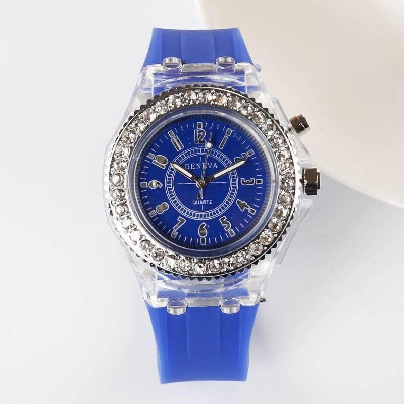 Geneva Women Fashion Watch Ladies Rhinestone LED Quartz Watch Couple Luminous Wrist Watch - Blue Malaysia