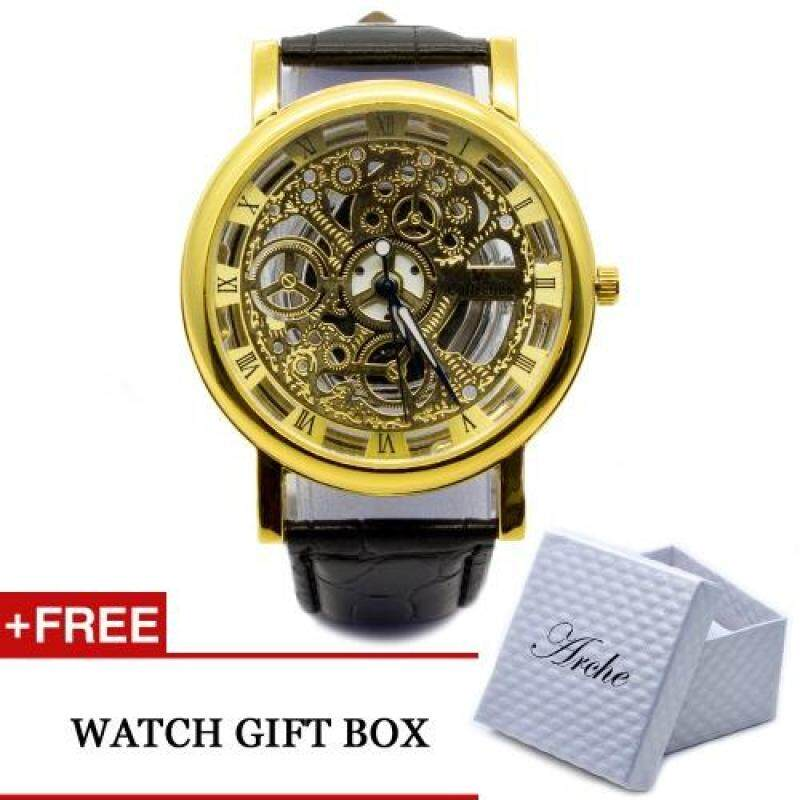 Geneve Classic Mens Fashion Skeleton Wrist Watch Roman Numerals Quartz Movement (Gold) Malaysia