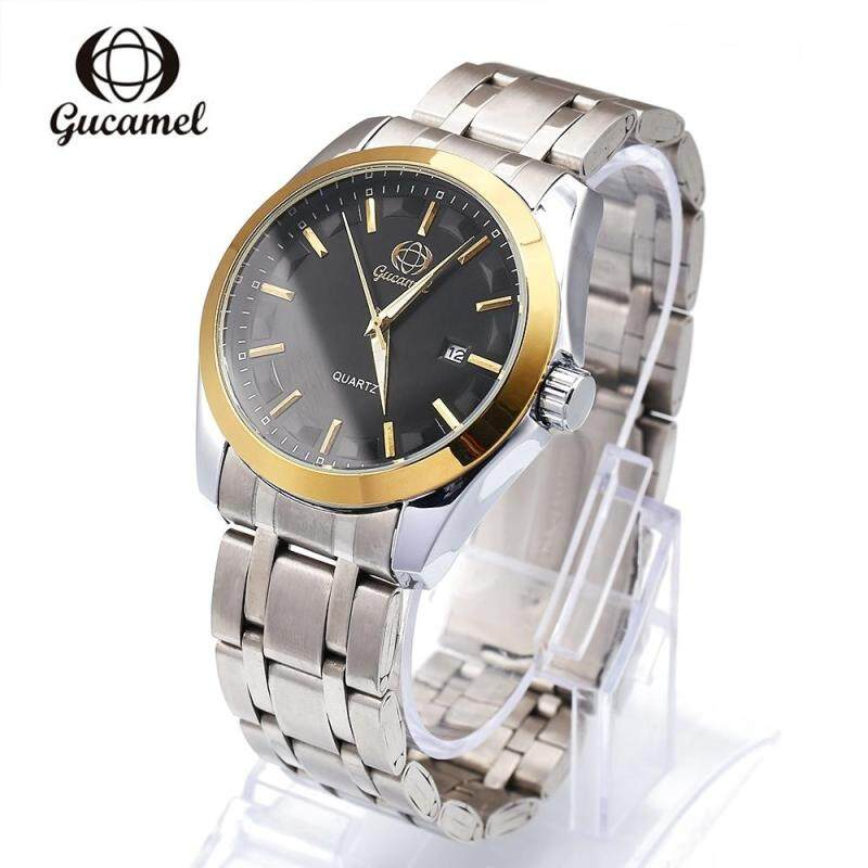 GUCAMEL B006 MEN QUARTZ WATCH STAINLESS STEEL BAND DATE DISPLAY WRISTWATCH, STEEL BAND+BLACK DIAL Malaysia