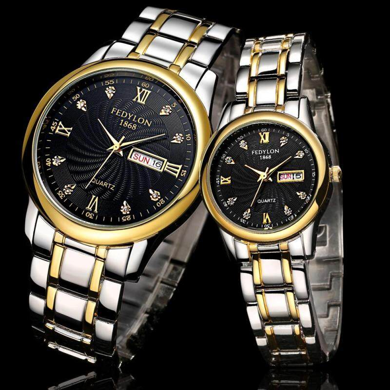 Happy Buy Luxury Lovers Couple Gold Watch Men Women Casual Date Waterproof Stainless Steel Quartz Wristwatch Montre Homme Mujer Malaysia