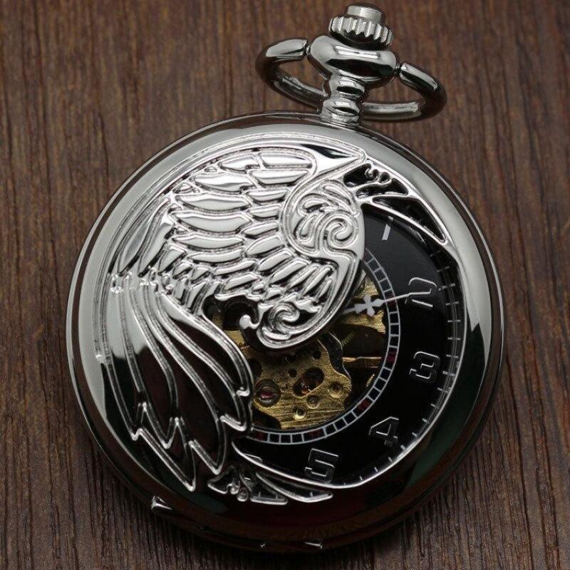hazyasm Creative mechanical watch animal phoenix pattern providespacket machine carved gold pocket watch (Grey) Malaysia
