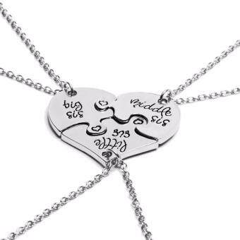 Hequ 3 Piece Heart Personalized Hand Stamped big sis middle sislittle sis 3 Sister Necklace Family