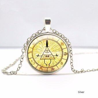 Hequ Bronze Silver Round glass Necklace Steampunk Drama GravityFalls Mysteries BILL CIPHER WHEEL Time Gems Pendant Bronze(Bronze)