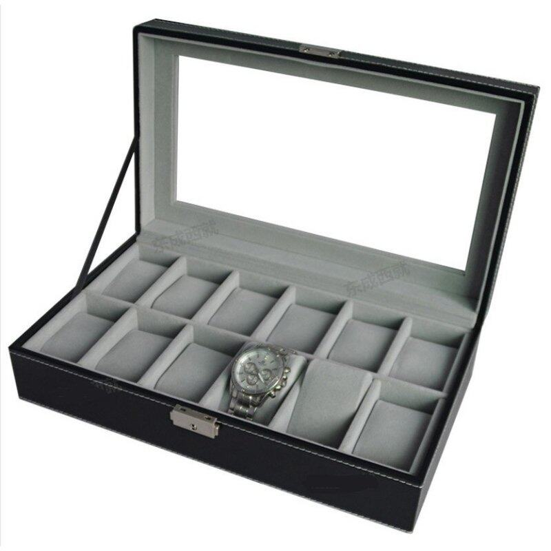 High Grade PU Leather Watch Box 12 Slots Glass Top Lock Type Malaysia