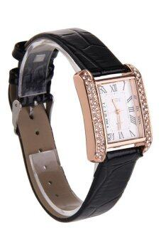 Hot New PU Leather Band Ladies Watch Alloy Square Diamante Face Black