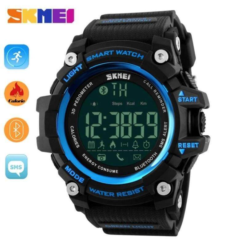 Hot Sales Skmei 1227 Watch Mens Sports Wristwatches Smart Pedometer Bluetooth Mens LED Alarm Waterproof Digital Watch - Blue intl Malaysia