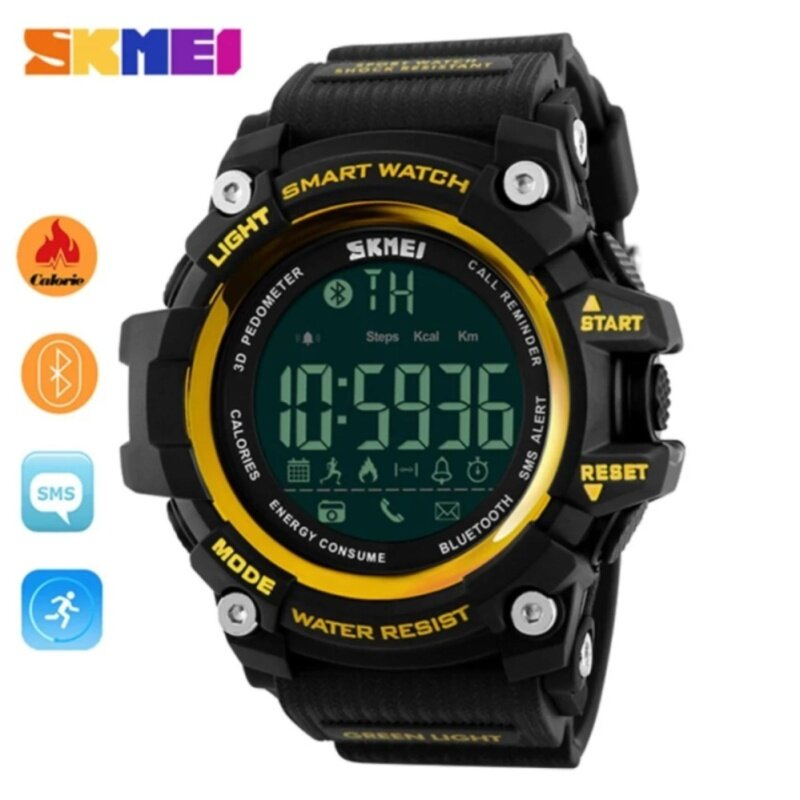 Hot Sales Skmei 1227 Watch Mens Sports Wristwatches Smart Pedometer Bluetooth Mens LED Alarm Waterproof Digital Watch - Gold Malaysia